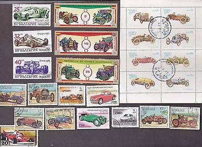 25 All Different SPORTS CARS on Stamps