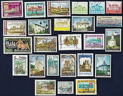 25 CASTLES, CHURCHES, CATHEDRALS on Stamps