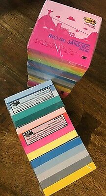 """3M POST IT Notes SUPER STICKY Colours of the World 3""""x 3""""  30 Pads 2700 Notes"""