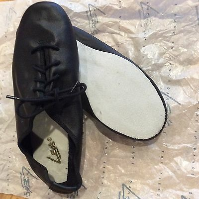 New Girl's Leo's Protege Oxford Jazz Shoes Black Leather Dance 12.5 $40