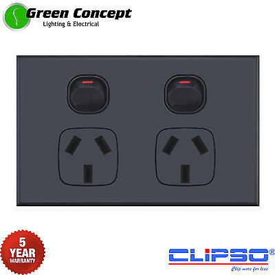NEW SLIM Black Double Power Point Two Gang Socket Outlet Powerpoint Clipso