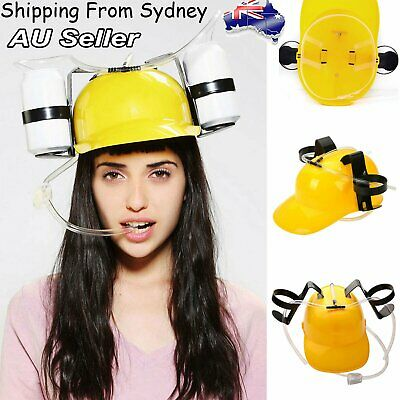 1X Lazy Drink Silly Straw Helmet Beer Soda Can Straw Drinking Hard Hat Party Fan