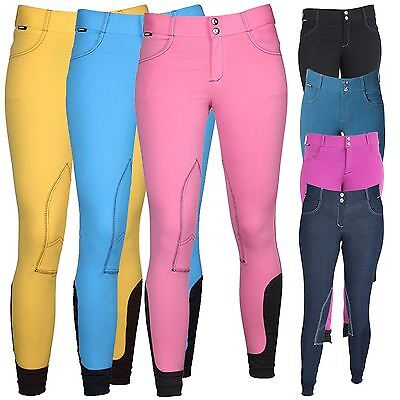 Horka Equestrian Junior Girls Utah Denim Look Elasta Ankle Embroided Breeches