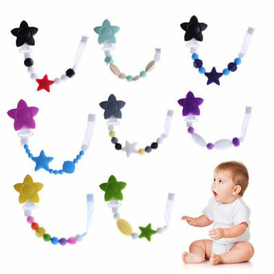Baby Teether Nursing Soother Silicone Pacifier Clip Dummy Holder Chew Toy