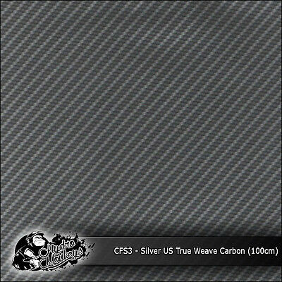 1m of Silver US True Weave Carbon Fibre 100cm hydrographics water transfer film