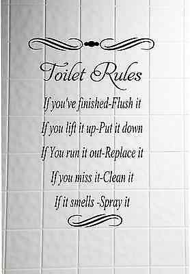 Toilet Rules Quote Wall Stickers bathroom Removable Decals DIY Home Decor Decal