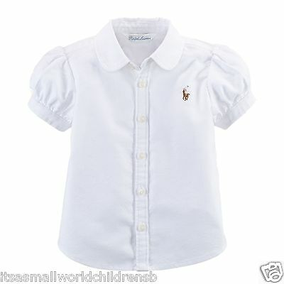 RALPH LAUREN baby girl White ss BLOUSE 3/6 6/9M 12/18M cotton oxford BNWT