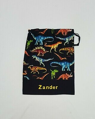 Free Name Dinosaur Black Design Personalised Library Bag Kinder Childcare
