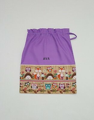 $Free Name Woodland Fox & Owl Personalised Embroidery Library Bag (Fd) Girl