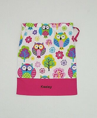 $Free Name Big Owl Personalised Embroidery Library Bag Kinder Fd