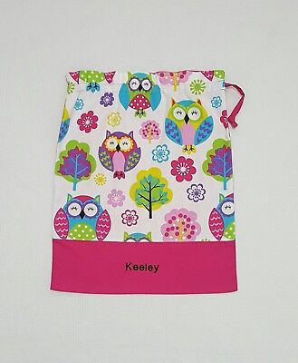 *free Name Big Owl Design Personalised Embroidery Library Bag (Fd)