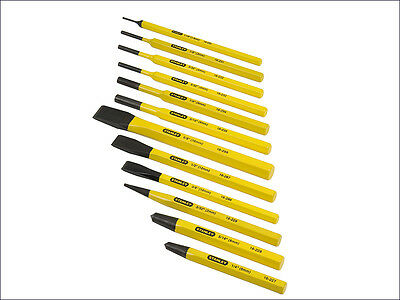Stanley STA418299 12 Piece Set Of Chisel Cold chisel Centre & Pin Punch 4-18-299