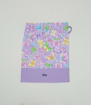 Free Name Beautiful Glitter Butterfly Personalised Library Bag Kinder Girl Fd