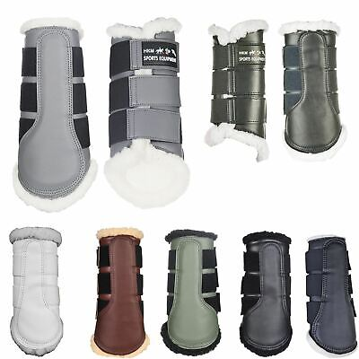Hkm Horse Riding Faux Leather Fleece Brushing Tendon Protection Boots S M L Xl