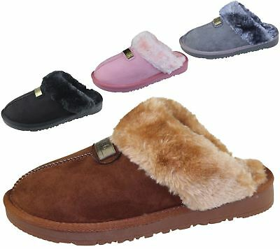 Womens Fur Lined Slippers Ladies Mules Non Slip Rubber Sole Shoes