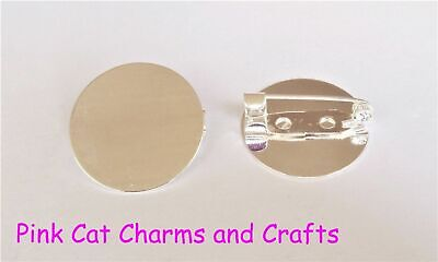10 x Silver Alloy Round Brooch Blank Pin 20mm Glue Pad Jewellery Finding