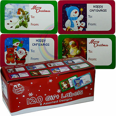 120 Christmas Self Adhesive New Gift Labels Tags Cute 8 Assorted Design Xmas