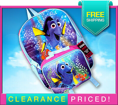 NEW! Girl's Finding Dory Nemo Book Bag Backpack w/Lunch Box Bag - Licensed Item!