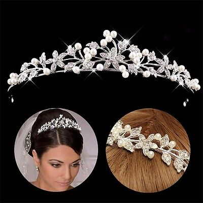 Pearl Crystal Flower Headband Hair Band Tiara Bridal Princess Wedding Prom Party