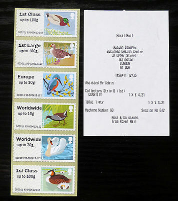 GB Post & Go Pictorials Birds III - set of three types incl 40g and Stampex