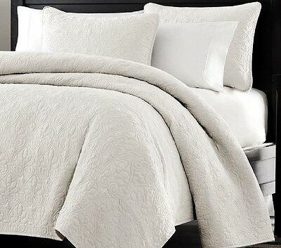 3414-King Oversized-3pc Quilted Coverlet Set- White -King