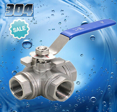 """BSP 3/8"""" 3-way Ball Valve Stainless Steel 304 Female Port L Type WOG1000 New"""