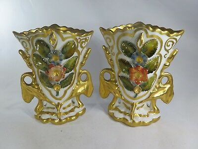 "Small 5"" Vintage Pair of Victorian Vases Porcelain Marked CF 738 1 Painted Gilt"