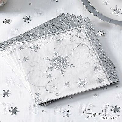 SILVER SNOWFLAKE Luxury Christmas Paper NAPKINS x16 -Xmas Party- RANGE IN SHOP!