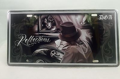 DGA Day of the Dead Lowrider Reflection Vintage Auto License Tin Plate 12x6 Inch