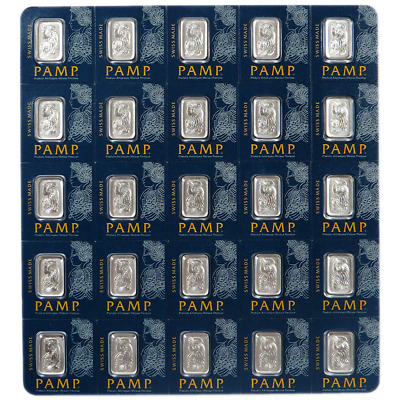 25 X 1 Gram Pamp Fortuna Platinum Bar .9995 Fine Multigram Veriscan