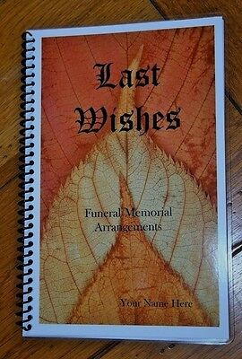 Last Wishes Funeral Memorial Estate Planning Arrangements Organizer Personalized