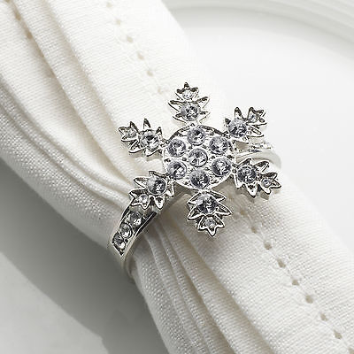 4 x Snowflake Diamante Napkin Rings Christmas Table Decorations Winter Party