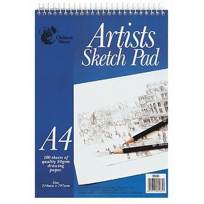 Chiltern Wove 100 Sheets A4 Spiral ARTIST SKETCH PAD Drawing Paper TOP QUALITY