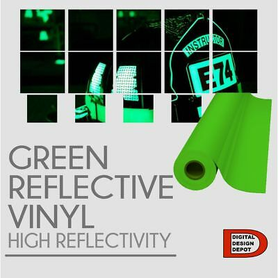 """Reflective GREEN sign Vinyl Adhesive safety Plotter cutter  12""""x10ft"""