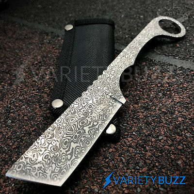 Straight Edge Razor Fixed Blade Damascus Cleaver TANTO Hunting Knife Karambit