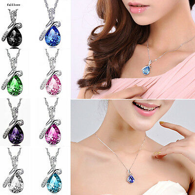 Chain Silver Women Pendant Rhinestone Fashion Necklace Heart Crystal Jewelry