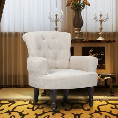 # French Provincial Arm Chair Sand White Dining Armchair Retro Wingback Sofa Win