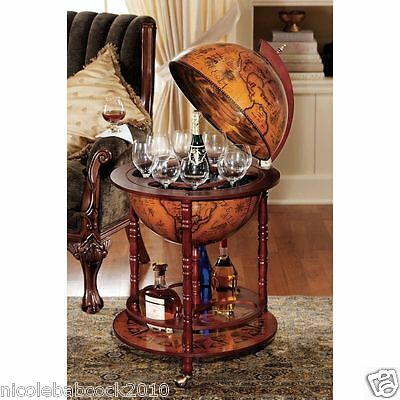 Ancient Italian Globe Of 16Th Century Of Spirits Or Liquor Shelf Table
