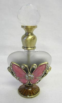 New Glass Perfume Bottle & Dauber Pink Butterfly & Sparkling Diamontes FJA008