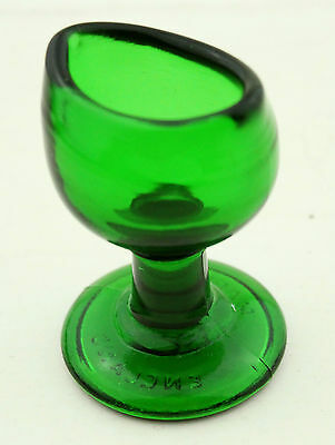 Vintage Eye Bath Dark Green Glass Antique Pharmacy Collectable Made in England