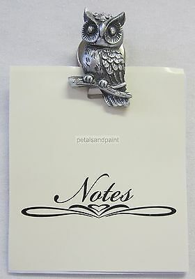 Magnetic Memo Clip Pewter Owl & Diamontes French Provincial Style Lovely Gift