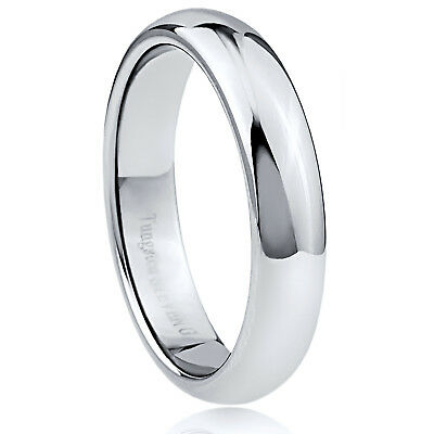 Men's 5mm Wide Tungsten Carbide Band Comfort Fit Ring Round High Polish - TCR043