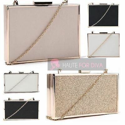 Ladies New Hard Compact Frame Box Chain Faux Leather Glitter Clutch Handbag