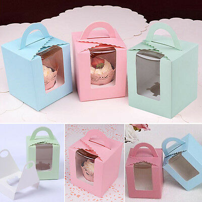 Hot Single Cupcake / Muffin / Fairy Cake Boxes With Clear Window Gift Box
