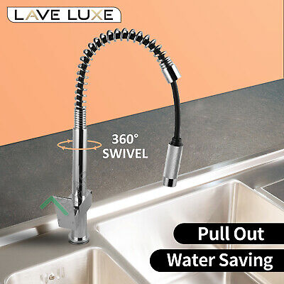 LEAD FREE Deck Mount Pull Down Kitchen Sink Basin Mixer Tap Laundry Faucet WELS