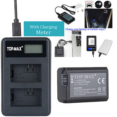 NP-FW50 Battery + Dual USB Charger For Sony A6000 A5000 A55 NEX7 NEX5 5T 5R 5N