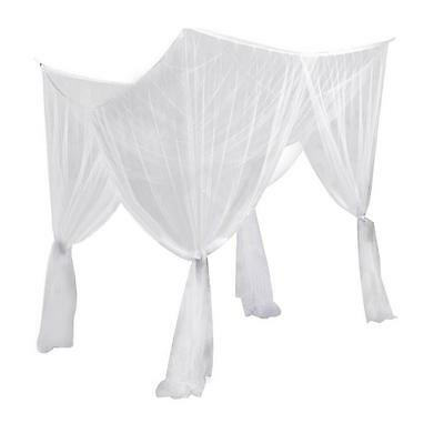 Bed Canopy Net Mosquito Bedding Netting Queen King Size 4 Corner Lace Elegant FB