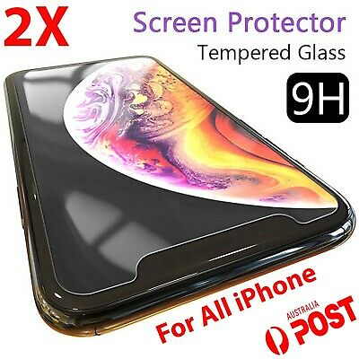 2x Tempered Glass Screen Protector iPhone XR 11 PRO Max X XS 7 6 6s plus 8 4 5tf