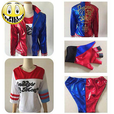 Costume completo T-shirt Abito HARLEY QUINN SUICIDE SQUAD COSPLAY Batman Joker