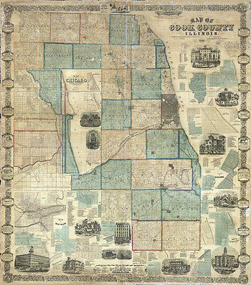 1861 Map of Cook County Illinois LARGE 40 x 45